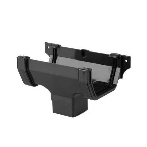 Plastic Guttering Square Style Running Outlet 114mm - Black
