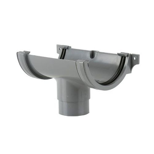 Plastic Guttering Half Round Style Running Outlet 112mm - Grey