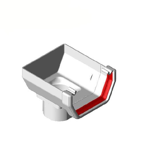 Freeflow Square Style Gutter Stopend Outlet - White