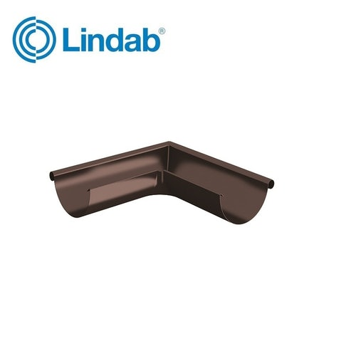 Lindab Half Round Ext. 90 Degree Gutter Angle 150mm - Coffee Brown