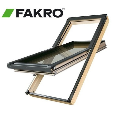 Fakro FTT R3/16 Pine Off-Centre Pivot Window - 55cm x 118cm