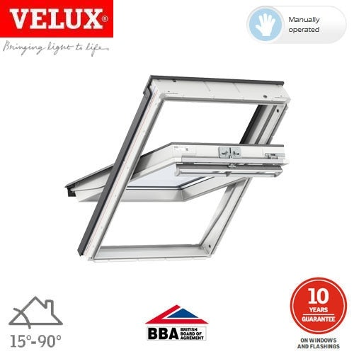 Video of VELUX GGL CK04 2070 White Centre Pivot Window Laminated - 55cm x 98cm