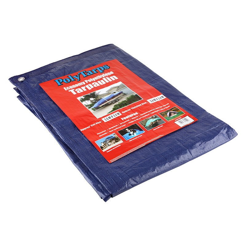 80gsm Economy Tarpaulin In Blue 7m X 9m Pack Of 2 Sheets