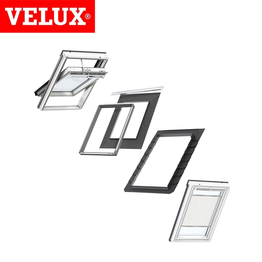 velux integra sk06 white painted window white electric pleated blind bundle for slate 114cm. Black Bedroom Furniture Sets. Home Design Ideas