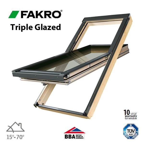 Fakro FTT U6/02 Triple Glazed Window Pine Centre Pivot - 55cm x 98cm