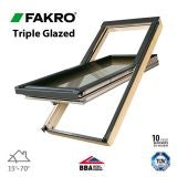 Fakro FTT - U6/03 Triple Glazed Window Pine Centre Pivot - 66cm x 98cm