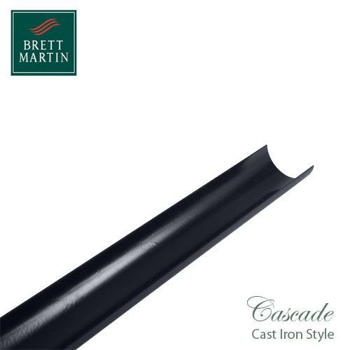 Cascade Cast Iron Style 112mm x 2m Plastic Roundstyle Guttering - Grey