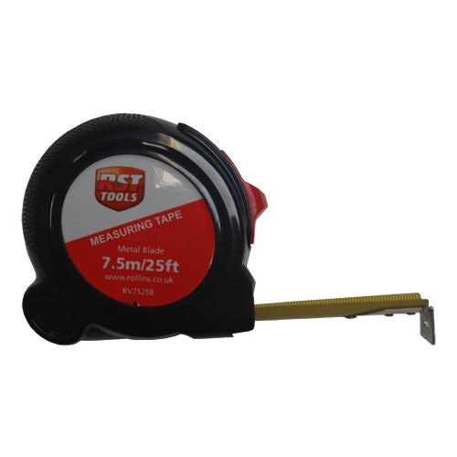RST Black Plastic 7.5m Tape Measure - 25mm Metal Blade & Blade Lock