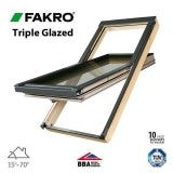 Fakro FTT U6/13 Triple Glazed Window Pine Centre Pivot - 78 x 160cm